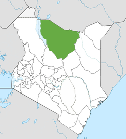 Location of Marsabit County (Green)