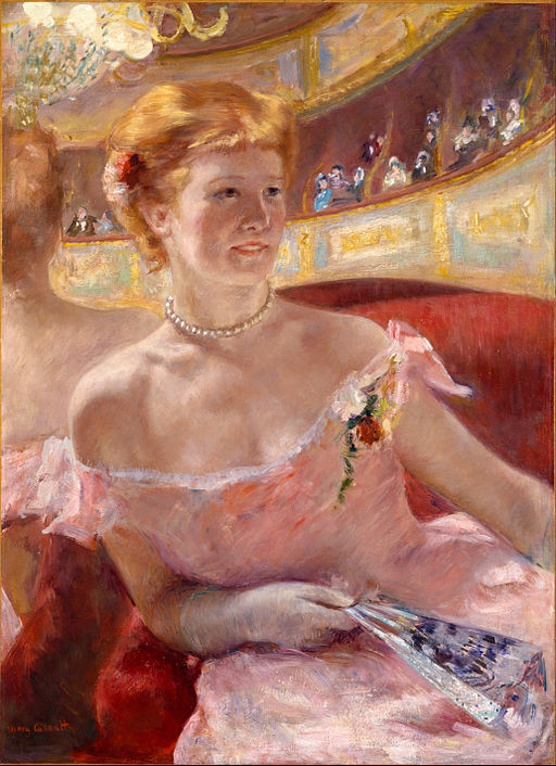 Mary Stevenson Cassatt, American - Woman with a Pearl Necklace in a Loge - Google Art Project