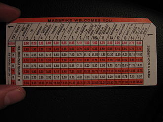 Massachusetts Turnpike - Toll ticket used prior to conversion to open road tolling