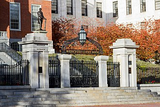 Massachusetts State House - The front gate of the State House, located on Beacon Street.