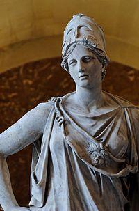 アテーナーの立像。彼女の ...