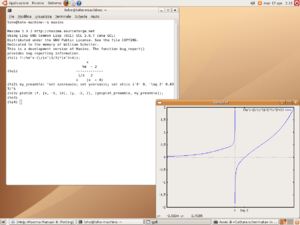 Screenshot of Maxima, plotting the 2D graph of a function with the gnuplot-x11 package running on Ubuntu Linux