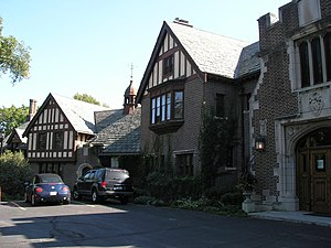 Mayslake Peabody Estate - The front façade of Mayslake Hall, constructed in the Tudor Revival style in Oak Brook, Illinois
