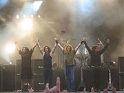 Glen Drover, James MacDonough, Dave Mustaine et Shawn Drover sur scène en 2005