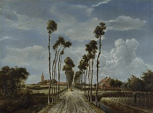 Middelharnis - The Avenue at Middelharnis by Meindert Hobbema, 1689