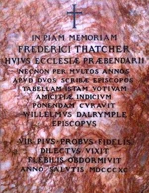 Frederick Thatcher - Memorial to Frederick Thatcher in Lichfield Cathedral