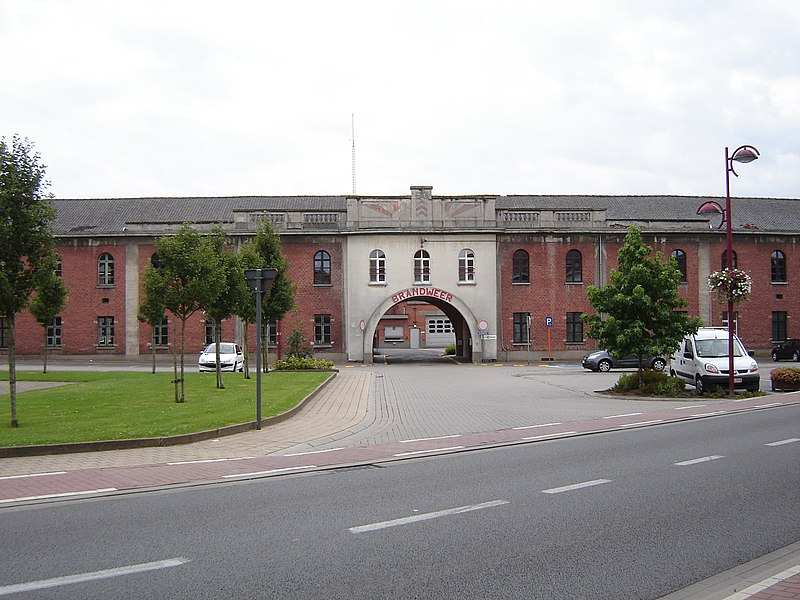 Former barracks and military hospital in Menen. Now fire station and OCMW offices. Menen, West Flanders, Belgium