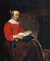 Young Woman Seated in an Interior, Reading a Letter