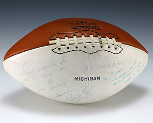 Bo Schembechler - A football signed by Bo Schembechler, Don Canham, and Wally Teninga that was given to President Gerald Ford.