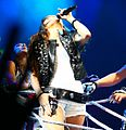 Miley Cyrus during the Wonder World concert in Detroit 2 cropped.JPG