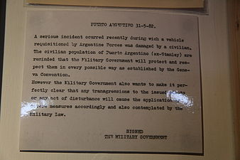 A message issued by the Argentine Military Governor during the occupation warning the Islanders against attempts to sabotage Argentine military equipment. Military Government message from the Falklands War (5612267360).jpg