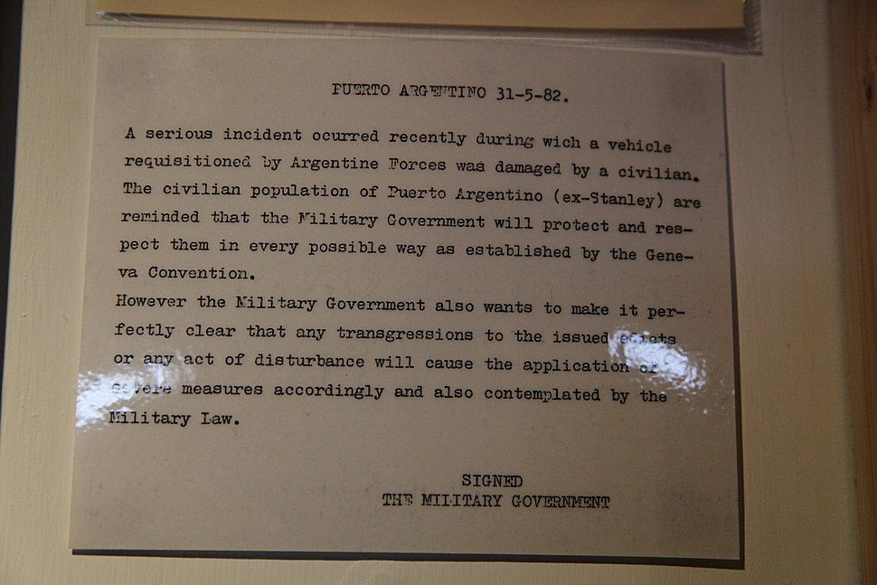 Military Government message from the Falklands War (5612267360)