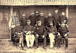 Charles-Théodore Millot - General Millot and his staff, summer 1884.  The charismatic young general  François de Négrier is sitting second to Millot's right