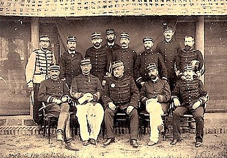 Oscar de Négrier - General Millot and his staff. De Négrier is sitting second to Millot's right.