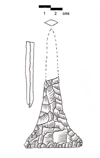 """Ras Beirut - Minet ed Dhalia Point. Also called a """"stylet"""". Discovered at Shemlan. White patinated flint."""