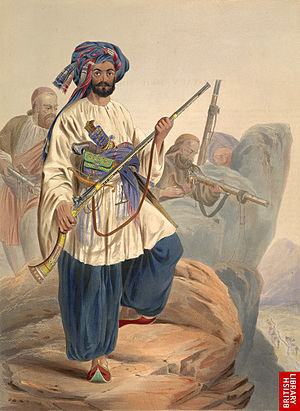 Jezail - Lithograph dated during the First Anglo-Afghan War of a Kohistani and his jezail.