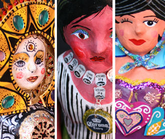 Mexican handcrafts and folk art - Dolls made of cartonería from the Miss Lupita project.