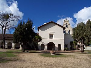 "Mission San Juan Bautista - A view of the restored Mission San Juan Bautista and its added three-bell campanario (""bell wall"") in 2010. Two of the bells were salvaged by Father Nick Senf in 2009 from the original chime, which was destroyed in the 1906 San Francisco earthquake."