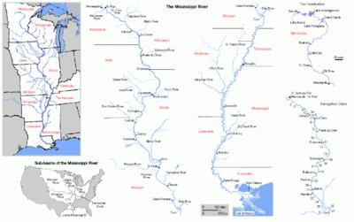 Kort over mississippiflodens løb