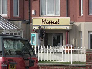 """Mistral (typeface) - The """"Mistral"""" restaurant in Bexhill-on-Sea, England"""