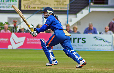 Mithali Raj of India, is the only player to surpass the 6,000 run mark in Women's One Day International cricket. Mithali Raj Truro 2012.jpg