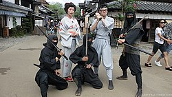 Moden depiction of ninja with ninjato (ninja sword)