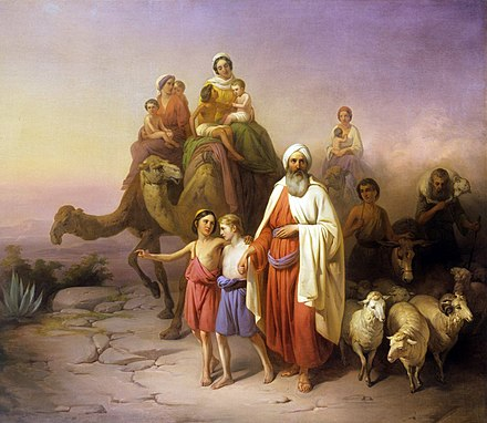 Abraham's Journey from Ur to Canaan, by Jozsef Molnar, 1850 (Hungarian National Gallery, Budapest) Molnar Abraham kikoltozese 1850.jpg