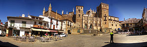 Monastery of Santa María de Guadalupe - Overview of the main facade and the square that lies before it.