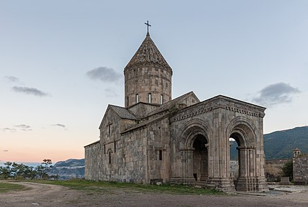 St Gregory church of the Tatev monastery during sunset, Syunik Province in southeastern Armenia.