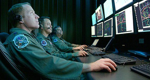 Monitoring a simulated test at Central Control Facility at Eglin Air Force Base (080416-F-5297K-101)