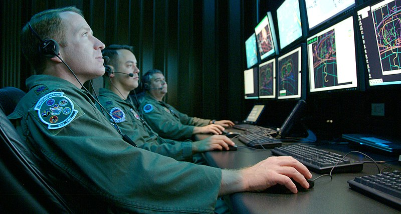Monitoring a simulated test at Central Control Facility at Eglin Air Force Base (080416-F-5297K-101).jpg