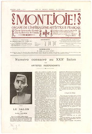 Ricciotto Canudo - Image: Montjoie, Ricciotto Canudo, André Salmon, sculpture by Joseph Csaky, 3rd issue, 18 March, 1914