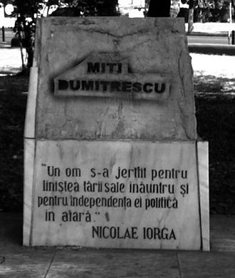 Vandalism - Armand Călinescu's memorial with the bronze plaque stolen and the name of the assassin written over.