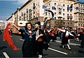 Moscow, 1997. A man and a woman in national costumes at the parade.jpg