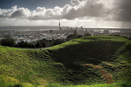 Cone of Maungawhau / Mount Eden, looking into the city Mount Eden.jpg