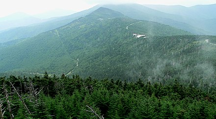 View from Mount Mitchell. At 6,684 ft (2,037 m), Mount Mitchell in North Carolina is the highest peak east of the Mississippi River Mount Mitchell-27527.jpg