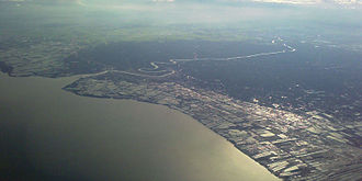 Mae Klong - Aerial photograph showing the mouth of the Mae Klong in Samut Songkhram Province