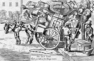 """Moving Day (New York City) - In 1869, a customer asks a cartman: """"Can't you take a few things more?"""" (Harper's Weekly)"""