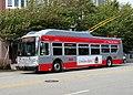Muni route 1 trolleybus in Laurel Heights, July 2018.JPG