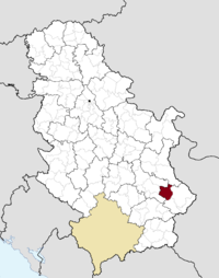 Location of the municipality of Bela Palanka within Serbia