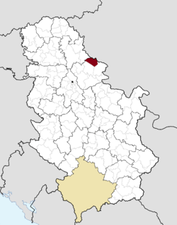 Location of Plandište within Serbia