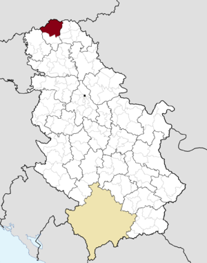 Location of Subotica within Serbia