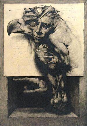Joan Castejón - 'Mutant eagle', wax on paper, by Joan Castejon.