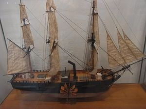 Mykonos Maritime Museum paddleship exhibit