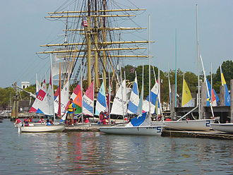 Mystic Seaport - Children learning to sail in JY15s and Dyer Dhows