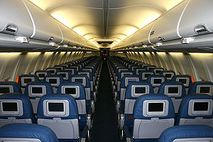 English: New interior on Delta Air Lines' Boeing