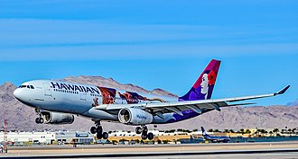 Moana (2016 film) - Hawaiian Airlines Airbus A330-200 Moana logojet landing at McCarran International Airport in Las Vegas in March 2017