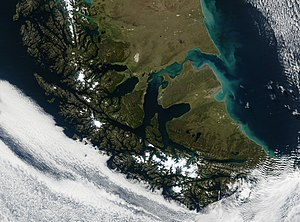 Tierra del Fuego - Tierra del Fuego archipelago in the bottom half of the image