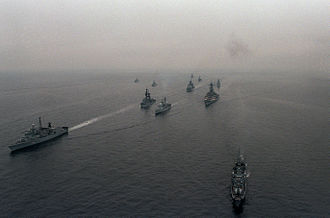 Joint task force - Ships of Task Group 100.1 during Exercise BALTOPS, 1985
