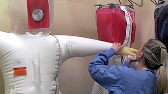 Biosafety level - Image: NIAID Integrated Research Facility Positive Pressure Personnel Suit Inspection
